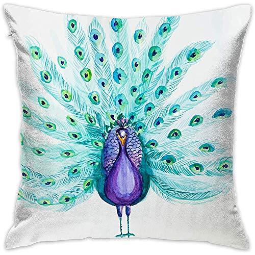 July Decoratieve kussensloop Mooie aquarel pauw kussenslopen kussenslopen voor bank slaapkamer-9H-Z5