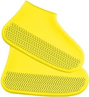 JWWOZ Silicone Rain Boots Reusable Waterproof Shoe Covers Rain Boots Washable Non-Slip Wear-Resistant Rubber Rain Boots (Color : Yellow, Size : L)