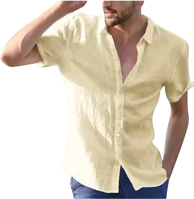 Mens Casual Slim-fit T-Shirt Short Sleeve Button Down Summer Solid Tees Classic Basic Pajama Undershirt Yoga Shirt