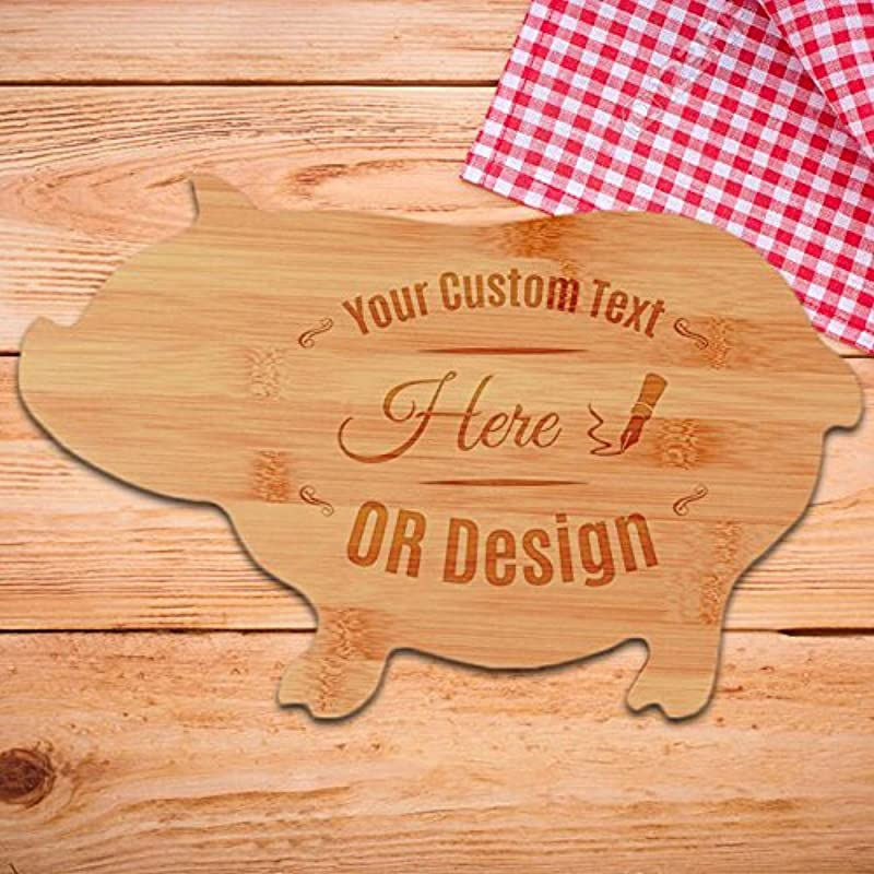 Beautiful Elegant Personalized Bamboo Pig Shaped Cutting Board Wooden Chopping Set Serving Tray Cheese Board Gift For Christmas New Year Housewarming Kitchen Engrave With Message