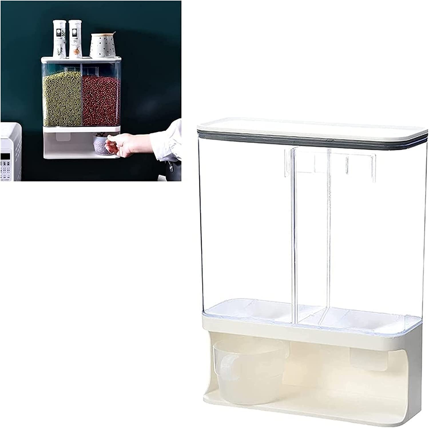 1 1.5 3 L Dual Challenge the lowest price of Japan ☆ Dispenser Cereal Cheap mail order sales Plastic Dry Clear Food