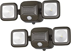 Mr. Beams MB3000 High Performance Wireless Battery Powered Motion Sensing Led Dual Head Security Spotlight, 500 Lumens, Brown, 2 Pack (Renewed)