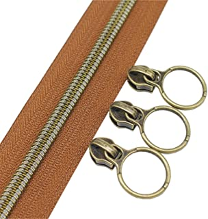 (anti-brass brown) - YaHoGa 5 Antique Brass Metallic Nylon Coil Zippers By The Yard Bulk 10 Yards Brown Tape With 20pcs Co...