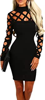 Dresses for Women Sexy Bodycon Lace Hollow Design High Neck Long Sleeves Mini Casual Party Cocktail Dress