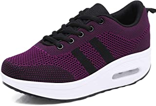 Womens Mesh Platform Walking Sneakers Lace-up Ladies Air Cushion Fitness Tennis Casual Wedges Rock Shoes