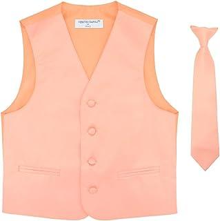 Boy's Dress Vest & Necktie Solid Peach Color Neck Tie Set