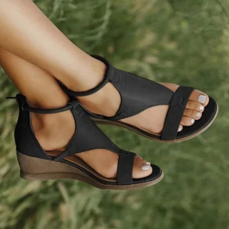 AODONG Sandals for Women Casual Summer Beach Sandals Flip Flops Shoes Womens Sandals Studded Flat Strappy Sandals