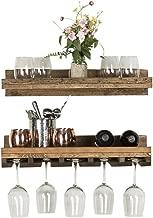 Del Hutson Designs Rustic Real Wood Wall Mounted Wine Bottle Rack Stemware Hanger Set Farmhouse Kitchen Dining (Walnut, 24 Inch / 2 FT)
