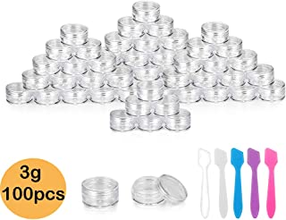 Accmor 100 Pieces 3g Empty Clear Plastic Sample Containers with Lids Cosmetic Pot Jars with 5 Pieces Mini Spatula by Accmor