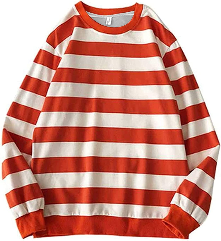 KOPLTYRFG Unisex Sweatshirts Autumn Winter Long Sleeve Round Neck Stripe Pullover Tops