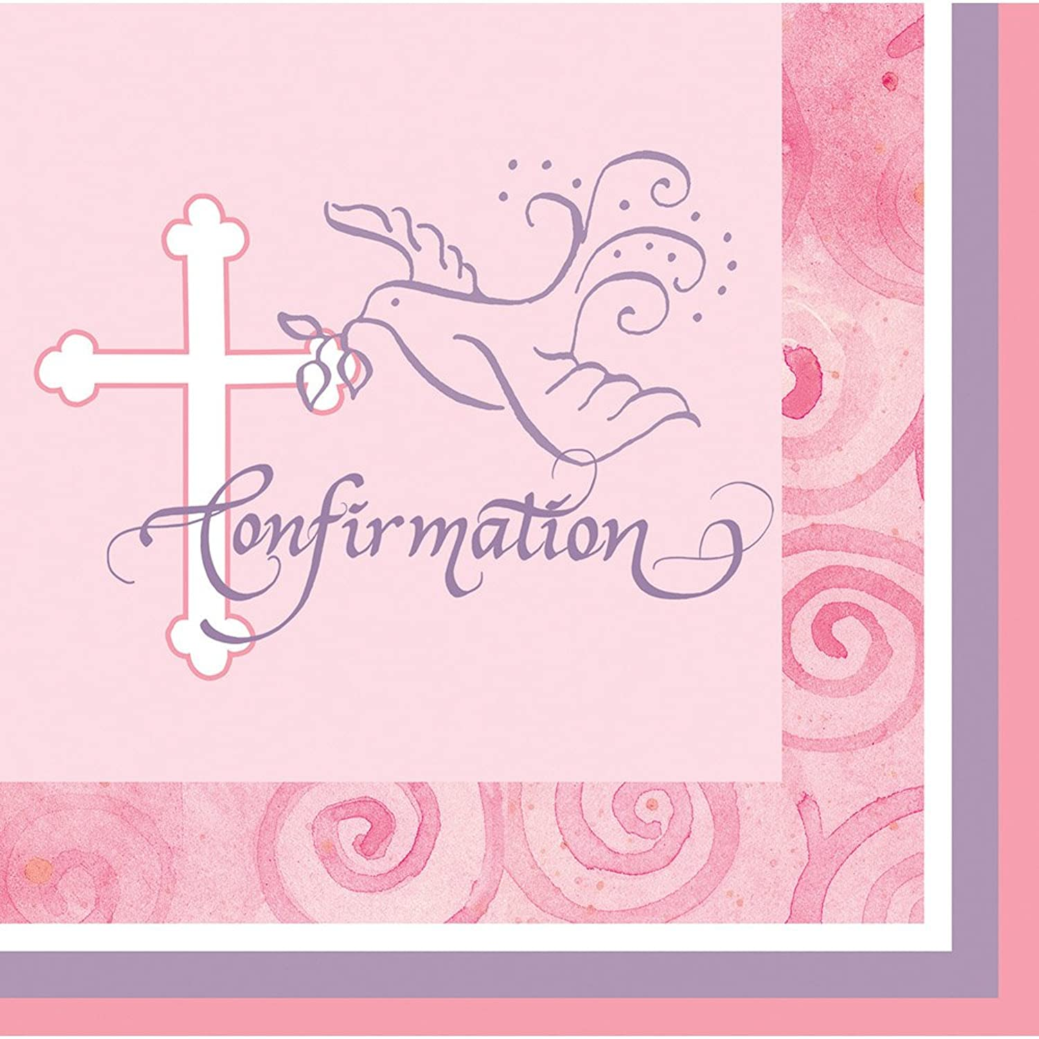 Creative Congreening 190660 Faithful Dove Pink Confirmation Lunch Napkins