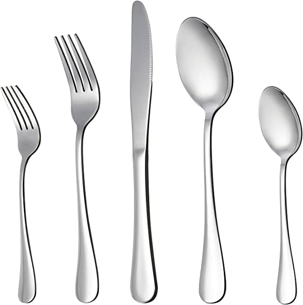 LIANYU 20 Piece Silverware Flatware Cutlery Set Stainless Steel Utensils Service For 4 Include Knife Fork Spoon Mirror Polished Dishwasher Safe