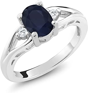 925 Sterling Silver Blue Sapphire 3-Stone Women's Ring 1.83 8x6mm Oval Gemstone Birthstone (Available 5,6,7,8,9)