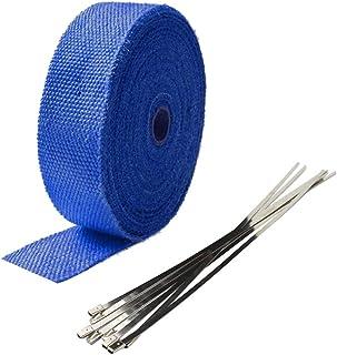 Mintice 5CM X 10M Fiberglas Blau Hitzeschutzband Auspuffband Auspuff Hitze Wickel Schild Hülle Auto Motorrad Krümmerband mit 6 Pcs Kabelbinder