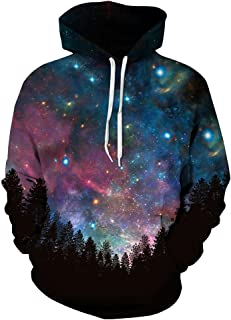 Mens Pullover Hoodie Galaxy Pockets 3D Printed Hooded Sweatshirts