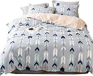 BHUSB Full/Queen Cotton Grey Duvet Cover Set with Arrow Printing Reversible Bedding Sets Queen Peach Gray with Zipper Closure,Hypoallergenic Lightweight Soft,Zippered
