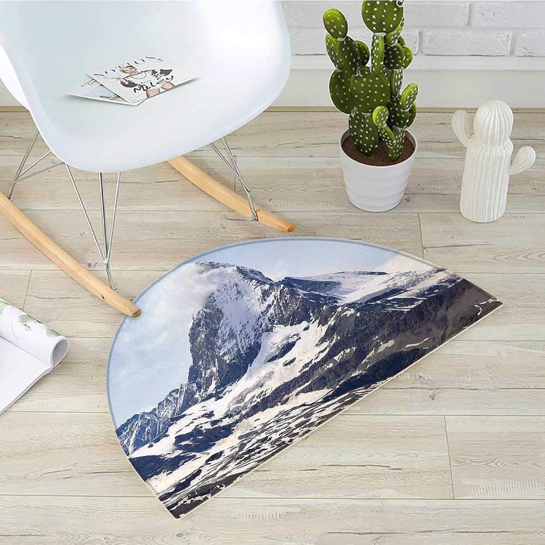 Mountain Half Round Door mats Matterhorn Summit with Clouds Mountain Scenery Glacier Natural Beauty Image Bathroom Mat H 31.5  xD 47.2  bluee White Black