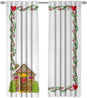 Kids Christmas, Curtains Insulated Thermal, Frame Featuring Sweet Candy Canes Hearts and a Gingerbread Cookie House, Curtains Kids Bedroom, W72 x L96 Inch, Multicolor