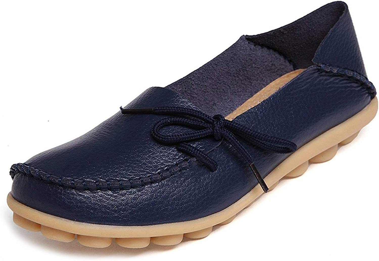 WYSBAOSHU Women's Leather Loafers Flats Slip On Moccasins Casual Driving shoes(10 B (M) US Label Size 43,Dark bluee)
