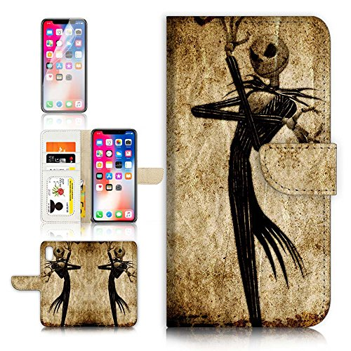 (for iPhone Xs MAX) Flip Wallet Case Cover & Screen Protector Bundle - A1369 Nightmare Before Christmas