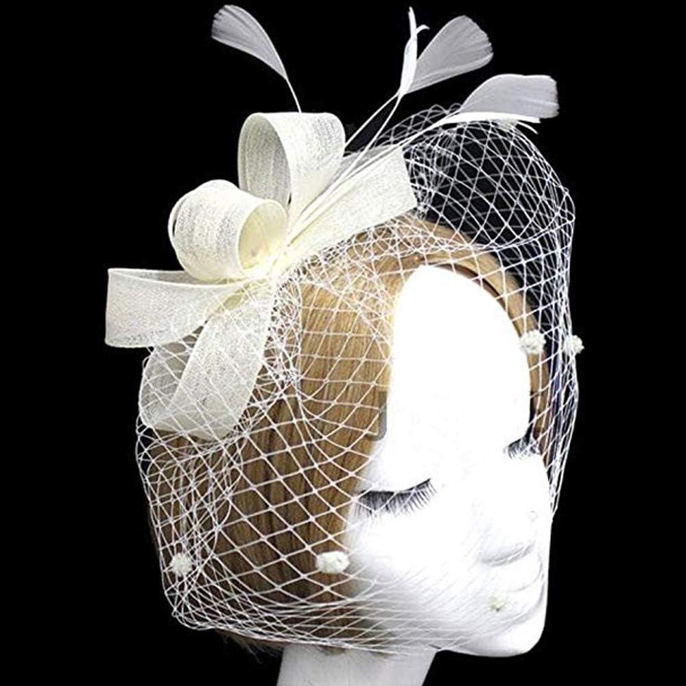 ITODA Feather Cocktail Fascinators Bridal Headband Church Wedding Tea Party Veil Cover