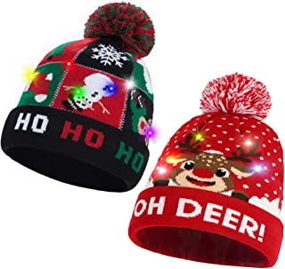 3PCS LED Light Up Hat Christmas Funny Beanie Knit Cap + Xmas Socks+ Gloves Set for Ugly Sweater Holiday Newyear Party