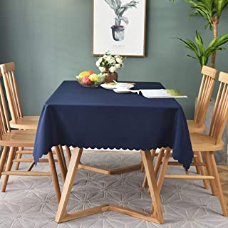 UBAKA Washable Cotton Linen Tablecloth Square Nordic Style Design Tablecloth, Table Cover Great for Buffet Table, Parties, Holiday Dinner, Wedding Decoration (Round 70Inch,Navy)