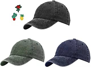 Lightbird 3PCS Baseball Caps & Cute Embroidery Patches Bundle, Make Your Different Dad Hats, Low Prolife, Washed Cotton