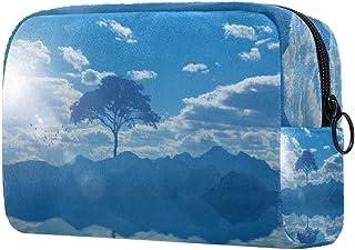 Tree Water Clouds Makeup Bag Toiletry Bag for Women Skincare Cosmetic Handy Pouch Zipper Handbag