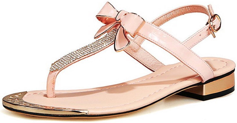 AmoonyFashion Women's Low-Heels Solid Buckle Soft Material Split-Toe Sandals