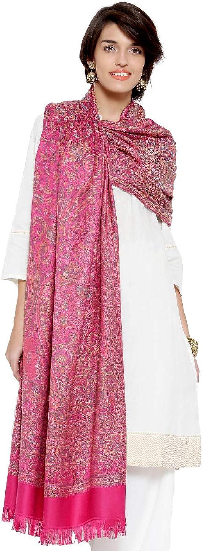 Weavers Villa Women's Pashmina Wool Blend Indian Handicraft Woven Shawls, Scarf, Wraps [Large Size  40  X 80 ]