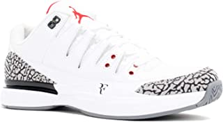 Nike Mens Zoom Vapor AJ3 Roger Federer White/Fire Red-Cement Grey Leather Athletic Sneakers