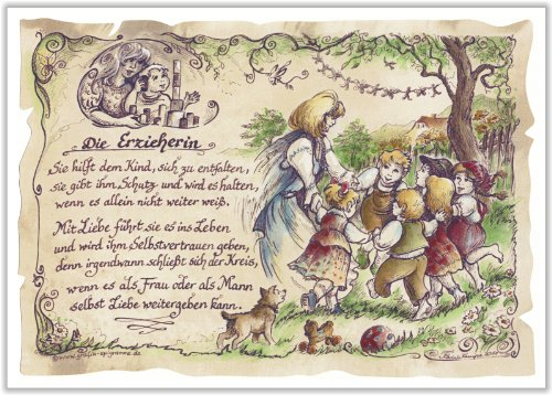 Die Staffelei Geschenk Erzieherin Kindergärtnerin Kindergarten Zeichnung Color 20 x 15 cm