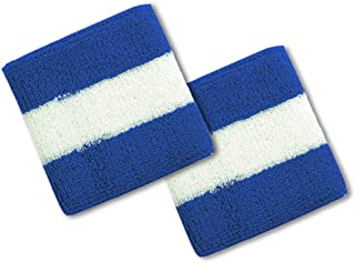 Cotton Terry Cloth Stripe Sports Wrist Band 2 Pack