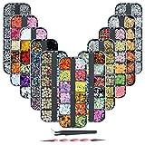 (11 Cajas) Piedras para Uñas Decoración - Decoración Adornos de Uñas,Colorido Kit de Diamantes de Uñas de Arte Piedras para Diamantes de Uñas 3D Pedrería Cristales de Uñas para Decoración Arte de Uñas
