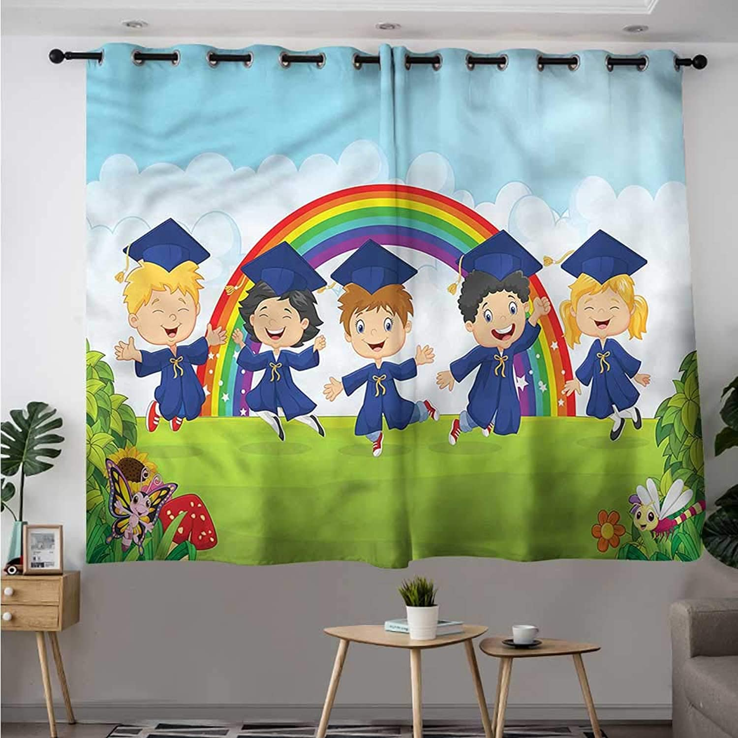 Fbdace Graduation Curtains for Bedroom Nursery Cartoon Kids Insulated with Grommet Curtains for Bedroom W 63  XL 45