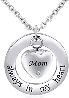 Mom/Dad/Grandma Cremation Jewelry for Ashes ~ Always in My Heart ~ Memorial Keepsake Necklace Pendant