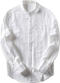 Ealmenn メンズ リネン シャツ スタンドカラー yシャツ バンドカラーシャツ 綿麻 長袖 無地 おしゃれ 麻シャツ 通勤シャツ 襟なし 立襟シャツ カジュアルシャツ
