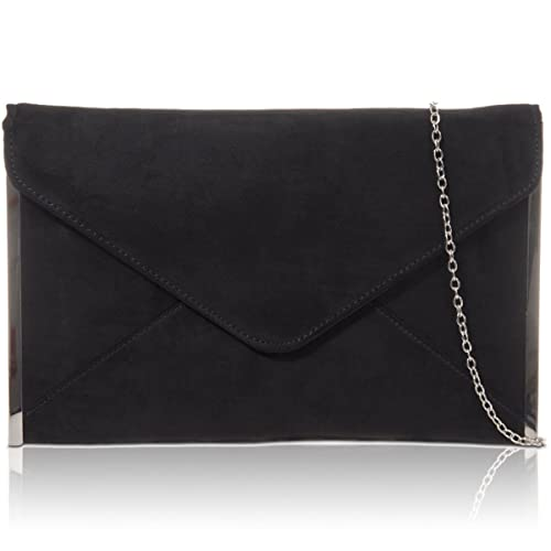 4d26c934f0 Xardi London New Medium Women Clutch Designer Flat Envelope Ladies Faux  Suede Evening Bag UK