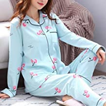 Nachthemd Voor Dames,Blauwe Revers Casual Nachtkleding Met Lange Mouwen Kersenprint Zachte Lange Broek Loungewear Herfst W...