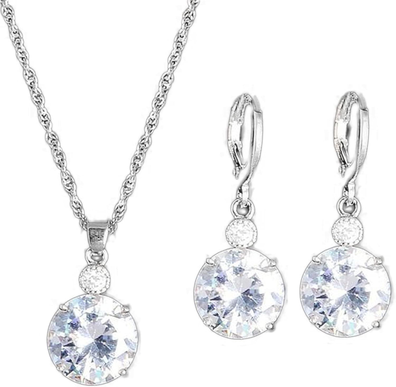 Jewelry Sets for Women,Fashion Jewelry Set Round Rhinestone Pendant Necklace Bridal Leaverback Earrings