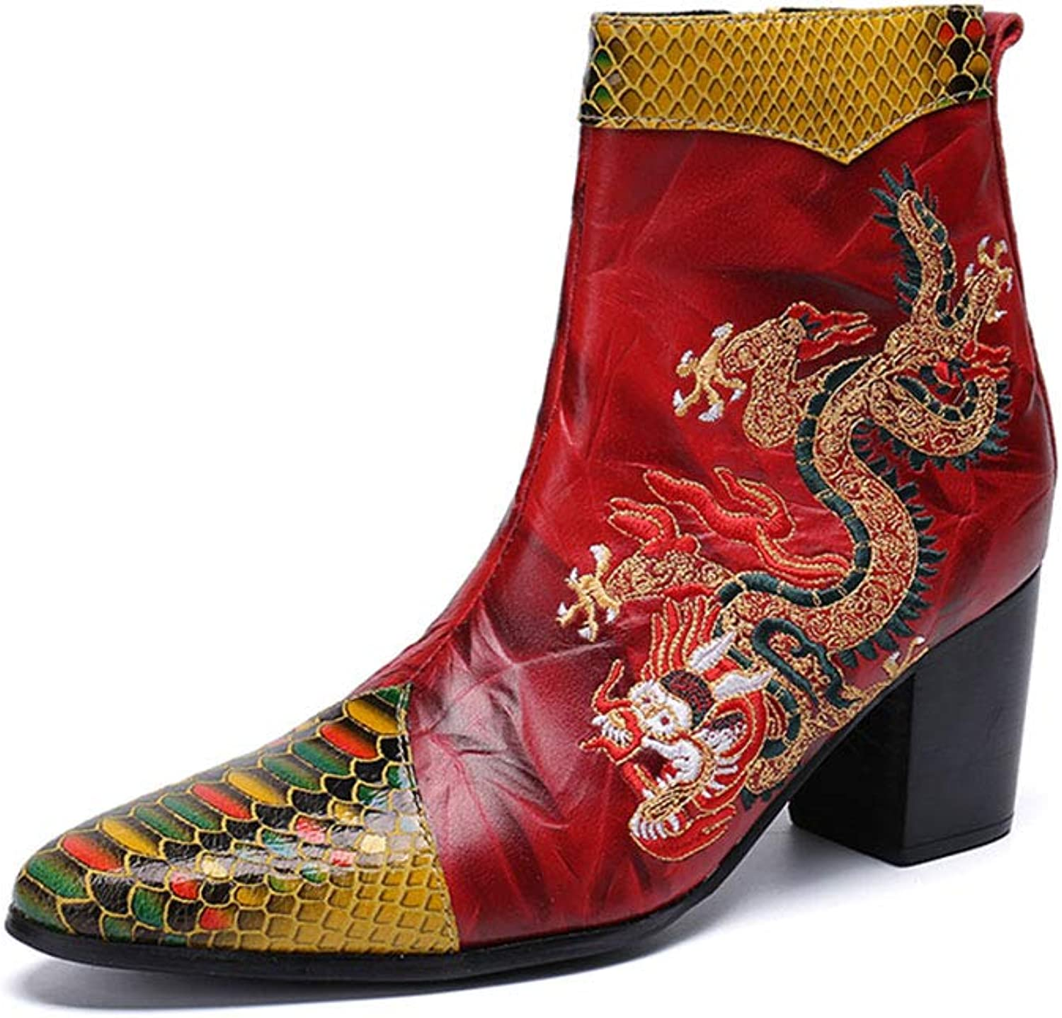 Men's Leather Boots Dragon Pattern Design Pointed Toe Shose Rock Singer Casual Classic Warm shoes for Autumn and Winter Cowboy Knight Short Boots for Nightclub,Wedding,Casual,Office,Party