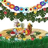 Pajaver 60 Pcs Décorations Fête Tropicale Hawaïennes, Jupe de Table Guirlande Bannière Feuilles de Palmier pour Fête Thème de Plage Anniversaire