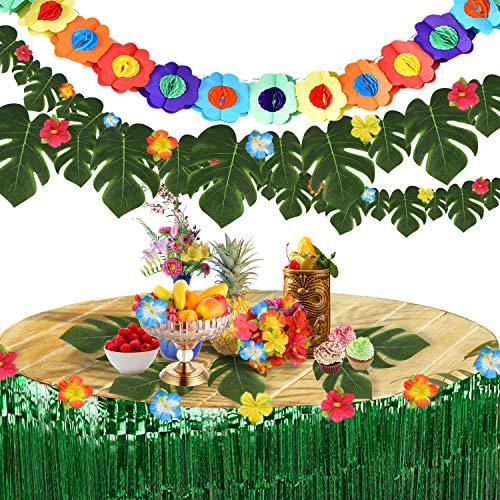 Pajaver 60 piezas de decoración para fiestas tropicales hawaianas, 2 faldas de mesa hawaiana, 3 m pancartas de flores, 30 hojas de palmera, 24 flores de hibisco para fiesta jardín temática de verano
