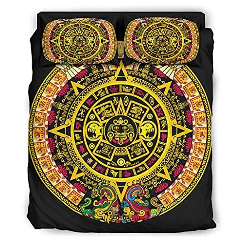 STELULI Juego de cama de 4 piezas con estampado de pueblos indoneses mayas antiguas y respetuosas con la piel, color blanco 228 x 264 cm