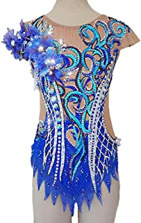 新体操レオタード 体操競技レオタード 女性用 女の子 ブルー スパンデックス 手作り 宝石で飾られた ダイアモンド調 ノースリーブ 競技大会 ダンス