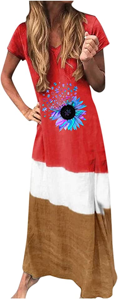 Lousioa Summer Dresses for Women Plus Size Casual Printing Block Loose V Neck Short Sleeve Maxi Dress Multicolor Patchwork Club Party Cocktail Streetwear