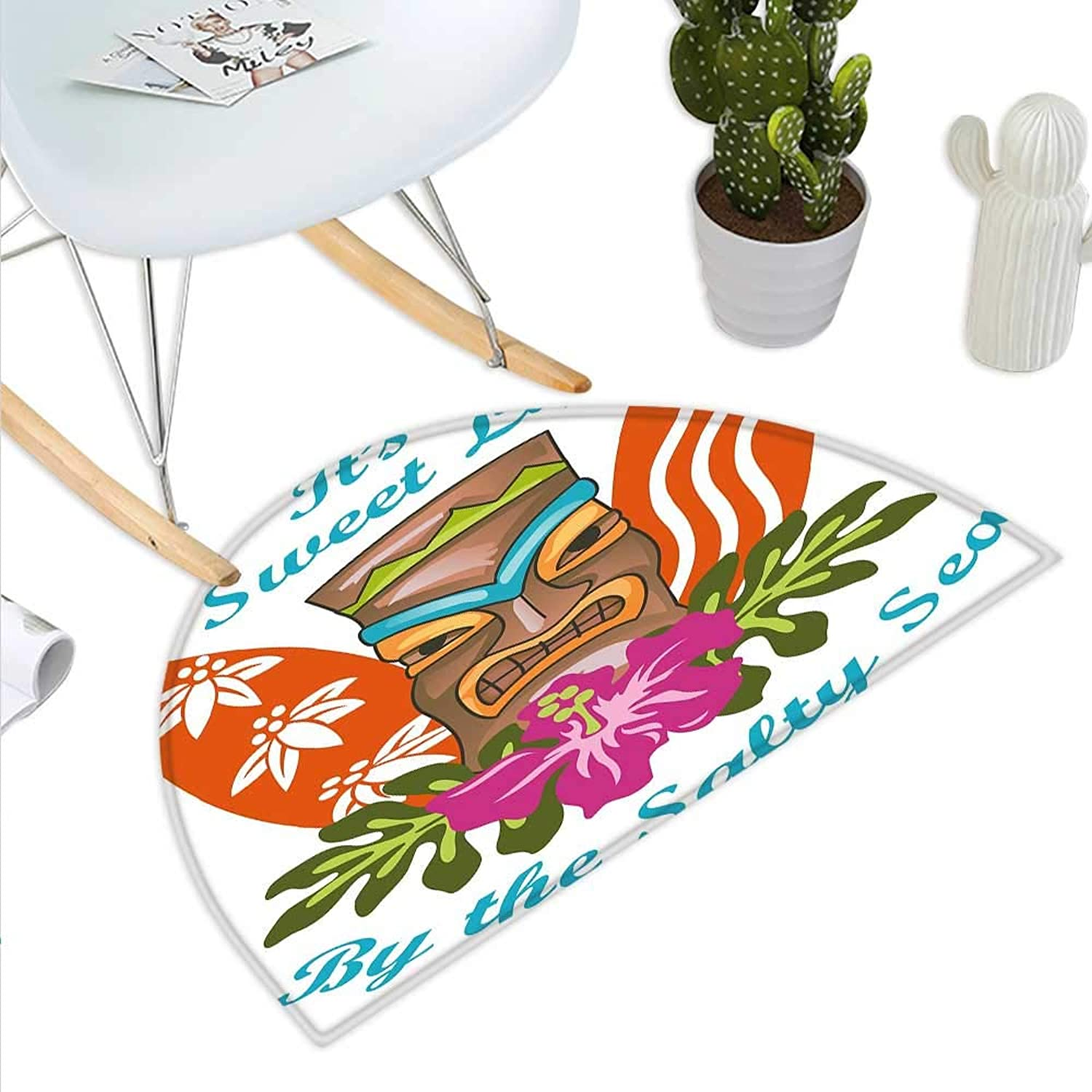 Tiki Bar Decor Semicircle Doormat Sweet Life by The Salty Sea Text with Tiki Figure and Hibiscus Flower Print Halfmoon doormats H 35.4  xD 53.1  Multicolor