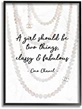 The Stupell Home Décor Collection Classy and Fabulous Fashion Quote with Pearls Framed Art, 11 x 14, Made in USA Wall Décor