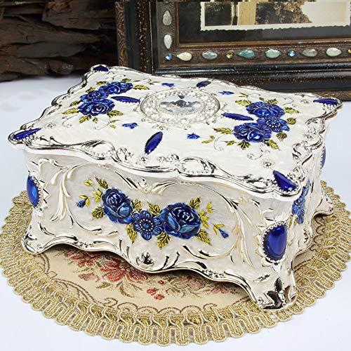 LaLa POP Rose Geprägte Schmuckschatulle Eingelegten Strass Home Schminktisch Doppelten Raum Aufbewahrungsbox Dekoration Emaille Lackiertem Metall Handwerk Geschenk Silber Chrom (Color : Blue)